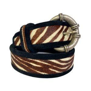 Vintage 90s Pony Hair & Suede Zebra Print Belt Horn Buckle S